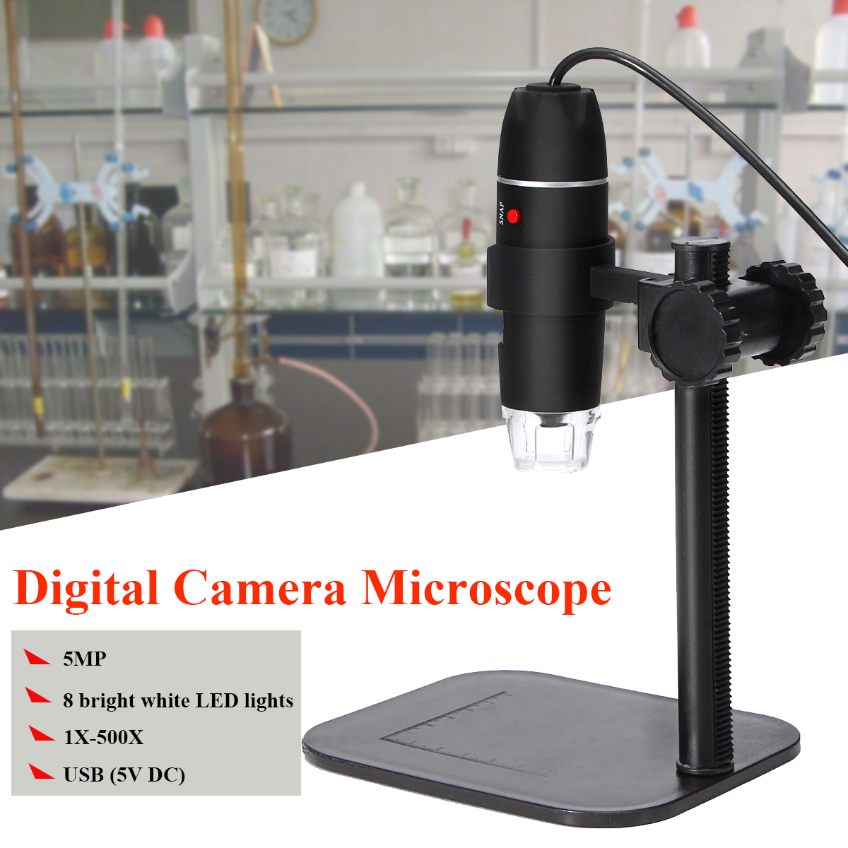 5.0MP 8 LED USB Digital Camera Microscope Magnifier Camera Vidio 1X-500X 5V DC