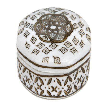 Oriental Furniture 3 in. Medallions Porcelain Small Jewelry Box