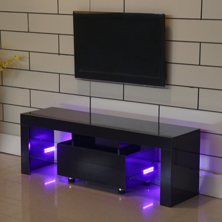 Tv Stand High Gloss Media Console Cabinet With 2 Led Shelves For Living Room Storage White