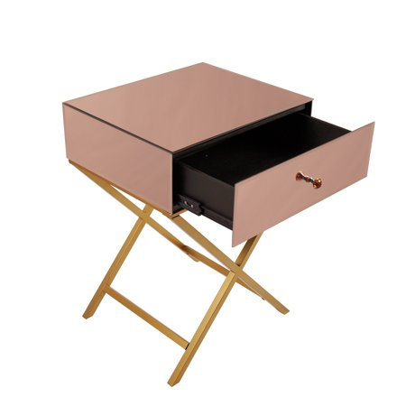 Mirror X-shaped foot 1 drawer side table bedside table-rose