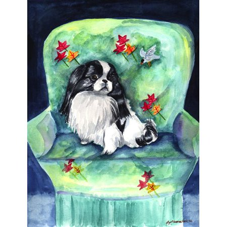 Caroline's Treasures Japanese Chin in Momma's Chair 2-Sided Garden Flag