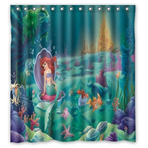 DEYOU The Little Mermaid Poster Green Shower Curtain Polyester Fabric Bathroom Shower Curtain Size 66x72 inches