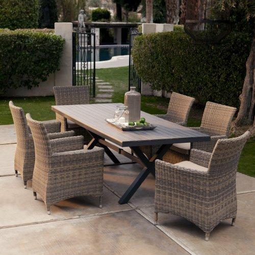 Belham Living Bella All Weather Wicker Patio Dining Set - Seats 6