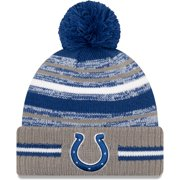 Indianapolis Colts New Era Youth 2021 NFL Sideline Sport Pom Cuffed Knit Hat - Royal/Gray - OSFA