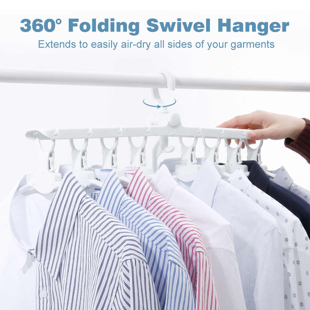 Langria Reversible Folding Clothes Hanger With 8 Quick Fold Hangers Non Slip 360 Swivel Hook Horizontal Vertical Multi Wardrobe Closet Organizer