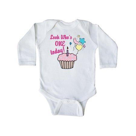 butterfly cupcake 1st birthday Long Sleeve Creeper ()