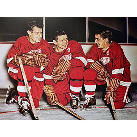 CANVAS Gordie Howe/Abel/Lindsay Detroit Red Wings by Darryl Vlasak 16x12 Painting Print on Wrapped Canvas Memorabilia Detroit Hockey Legends