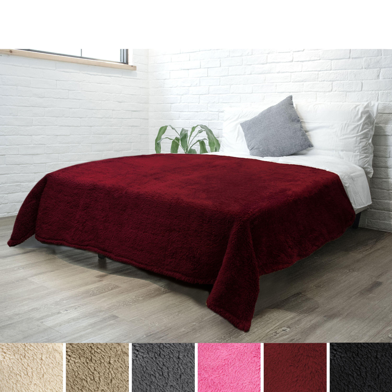 Pavilia Luxury Sherpa Twin Size Bed Blanket Fluffy