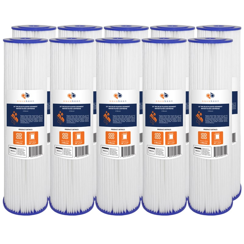 "10PK of Big Blue Whole House 5µm Pleated Washable Sediment Water Filter 20""x4.5"" by Aquaboon"