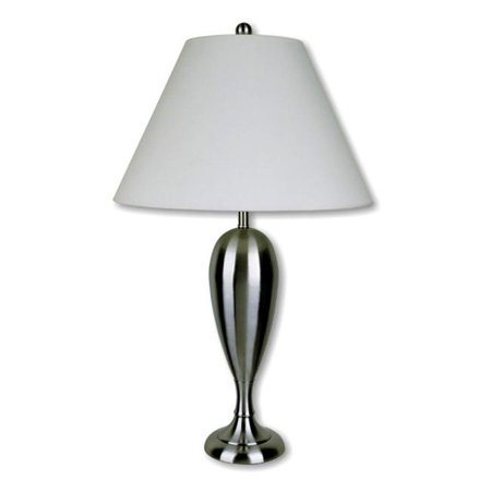 "29"" Traditional Metal Table Lamp with Brushed Base Silver - Ore International"