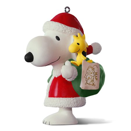 Keepsake 2017 PEANUTS Spotlight on Snoopy 20th Anniversary Porcelain Christmas Ornament, Snoopy is dressed as Santa with Woodstock and a big.., By Hallmark Ship from US