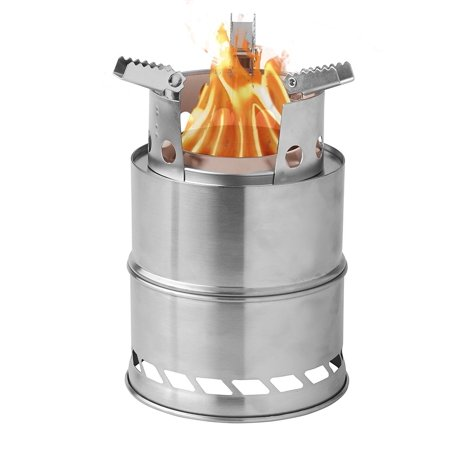 Camping Wood Burning Survival Stove Foldable Portable, Made Of Light Weight Stainless Steel Easy Fuel With Twigs Leafs Solidified Alcohol, Best Cooking System for Backpacking Hiking Camp Kitchen (Best Wood Burning Stove Thermometer)