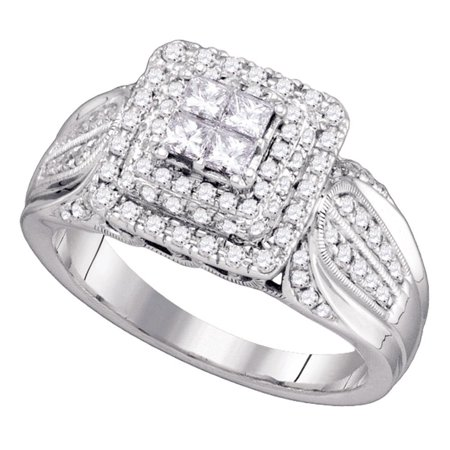 14Kt White Gold Womens Princess Diamond Cluster Bridal Wedding Engagement Ring 3 4 Cttw