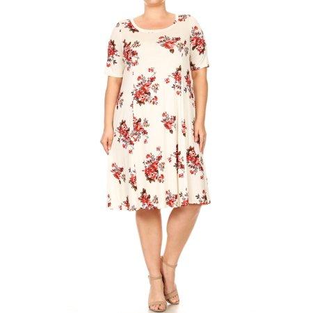 Women\'s Plus Size Floral Print Knit A-line Dress