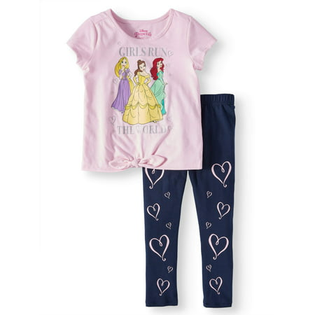 Belle, Rapunzel, and Ariel Tie-Front Tee and Capri Legging, 2-Piece Outfit Set (Little - Eazy E Outfit