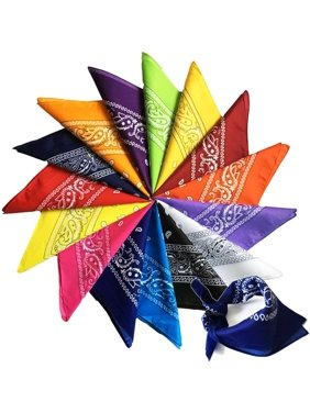 60 Pack Wholesale Assorted Colors And Prints Cotton Bandana, Bulk Scarf Headband Handkerchiefs