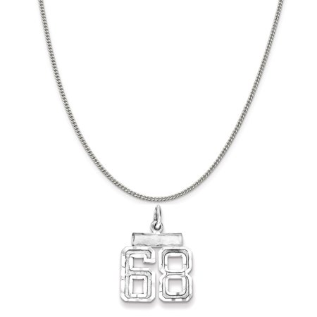 Small Charm Necklace (Sterling Silver Small #68 Charm on a Sterling Silver Curb Chain Necklace,)