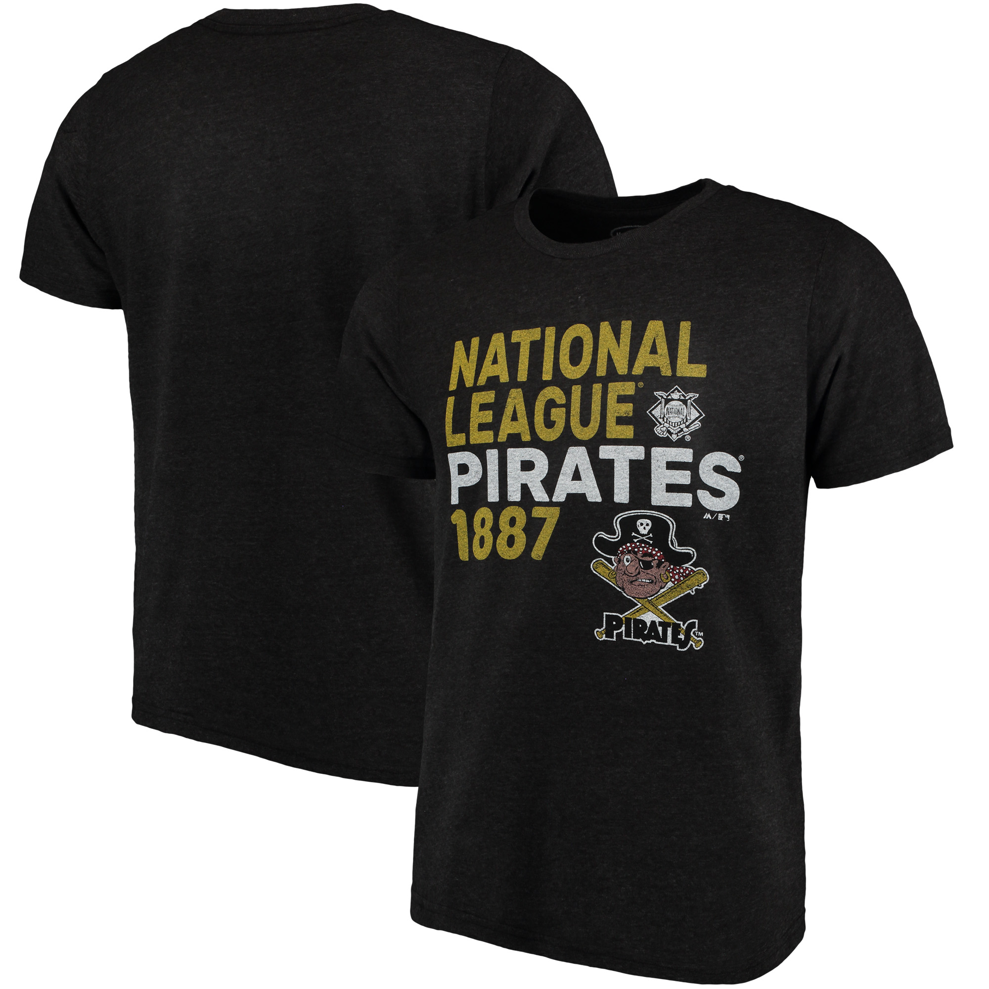 Pittsburgh Pirates Majestic Threads Throwback Cooperstown Collection Tri-Blend T-Shirt - Black
