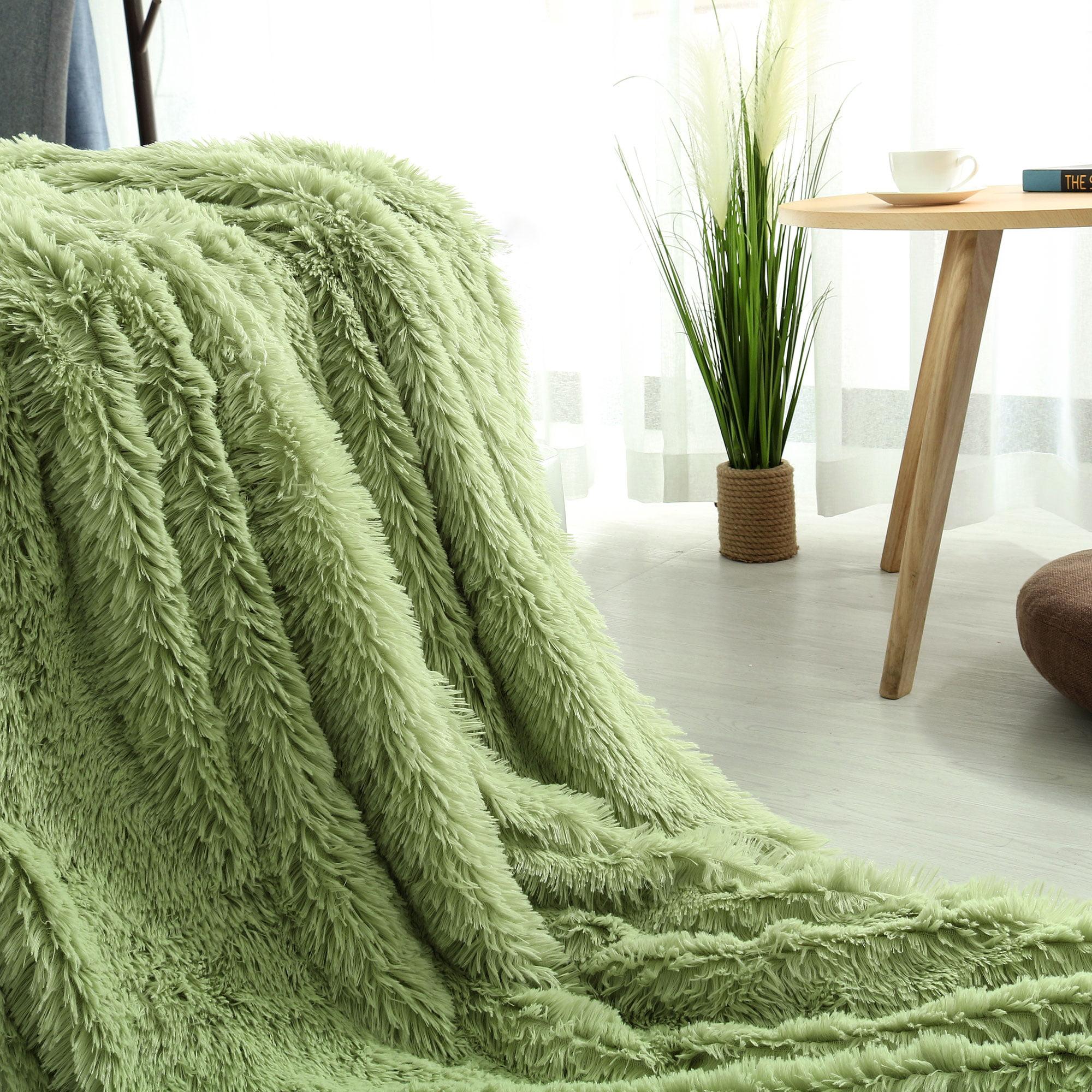 "Warm Shaggy Faux Fur Plush Decorative Twin Size Blanket 59""x 78"" Dark Camel"