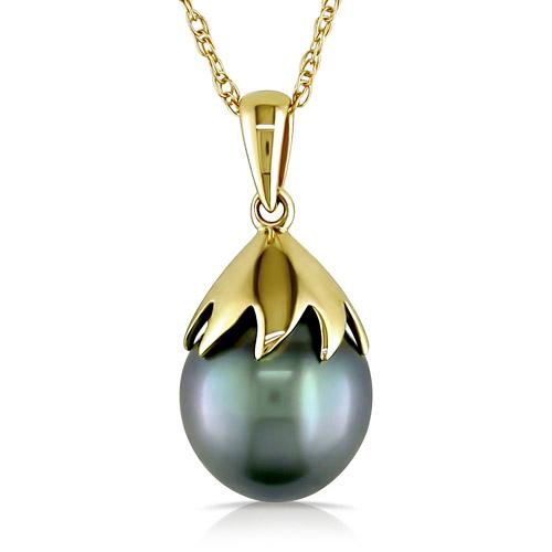 9.5-10mm Black Drop Tahitian Pearl 10kt Yellow Gold Fashion Pendant, 17