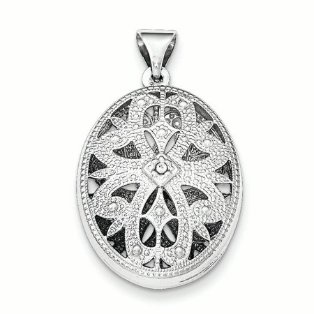 Sterling Silver Textured Oval CZ Pendant QP4684 (mm x mm) - image 2 of 2