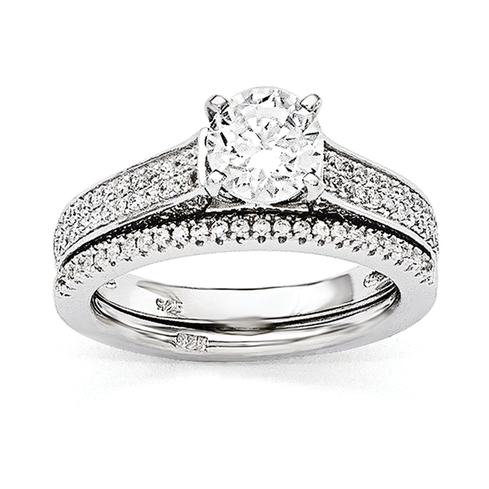 925 Sterling Silver and Cubic Zirconia Brilliant Rhodium 2 Piece Wedding Ring Set