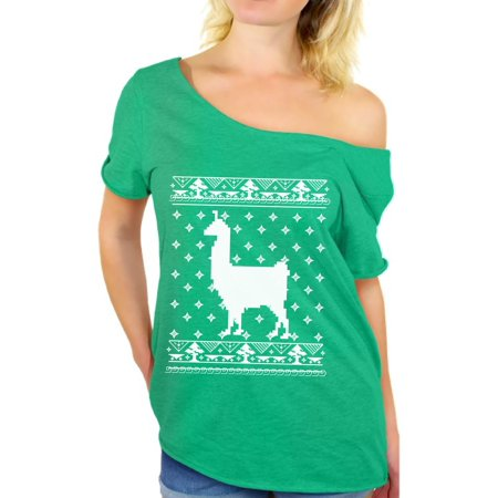 Christmas Llama (Awkward Styles Llama Christmas Off The Shoulder Shirt Xmas Llama Oversized Shirts for Women Christmas Llama Baggy T Shirt Funny Christmas Shirt Off Shoulder Women's Ugly Christmas T Shirt Xmas)