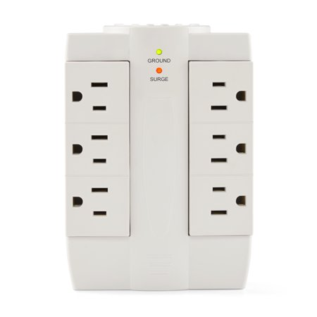 Hyper Tough Swiveling Power Tap Surge Protector, 6 AC Outlets, White