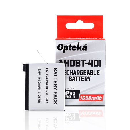 Opteka AHDBT-401 Extended Replacement 1600mAh Lithium-ion (Li-ion) Battery for GoPro HERO4 Black & Silver Action Cameras