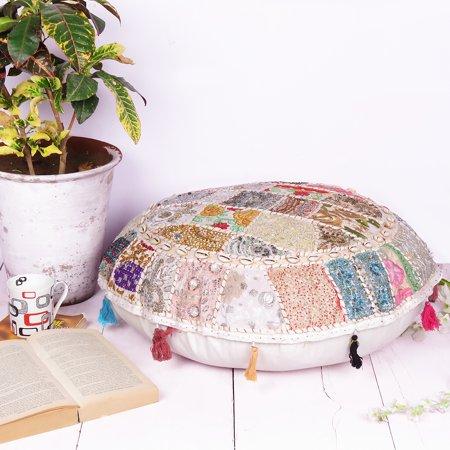 Indian White Floor Cushion Boho Patchwork Bohemian Round Floor Pillow Ottoman Pouf Seashell- 22