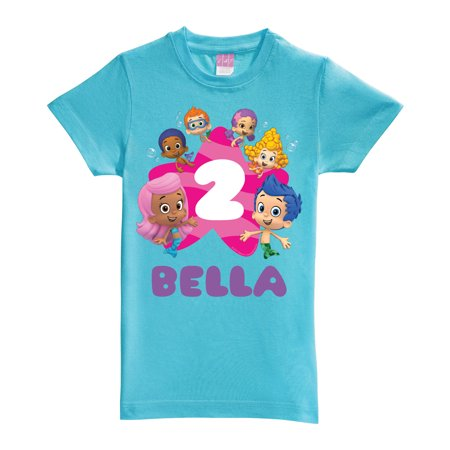 Personalized Bubble Guppies Birthday Aqua Fitted Tee ()