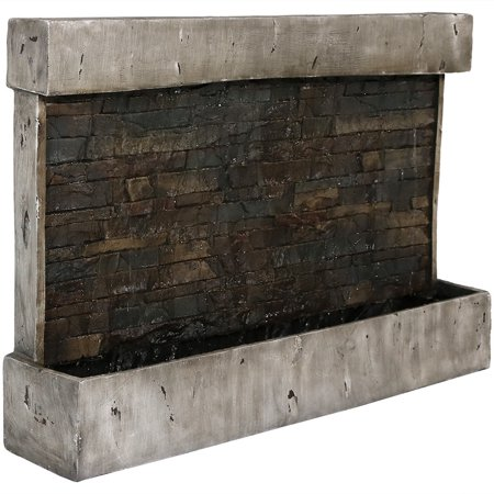 Sunnydaze Ancient Wall Mounted Waterfall Fountain, Outdoor Modern Water Feature, 24 Inch ()