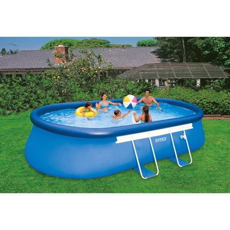intex 18 39 x 10 39 x 42 oval frame easy set swimming pool. Black Bedroom Furniture Sets. Home Design Ideas