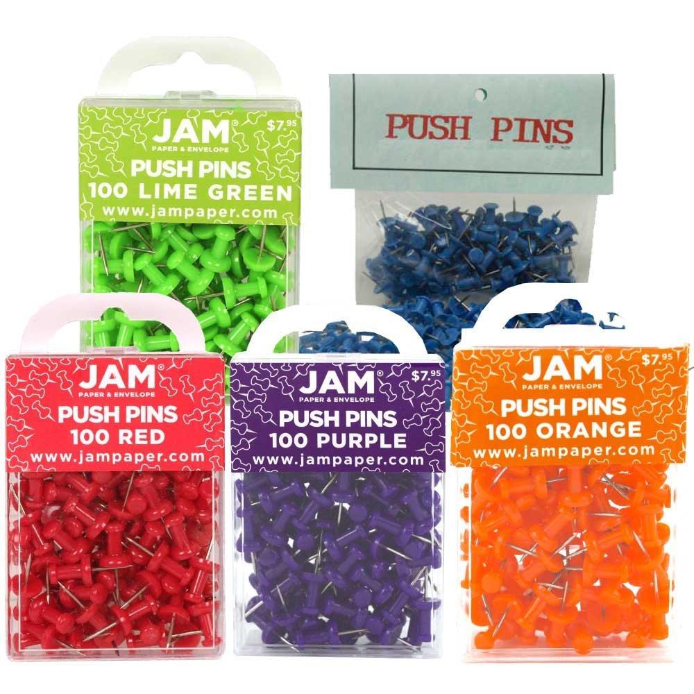 JAM Paper® Push Pins - 5 Assorted Color Pushpins - 500/pack