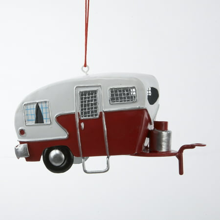 Vintage Christmas Ornaments (Retro Vintage Look Red White Tin Teardrop RV Camper Christmas)