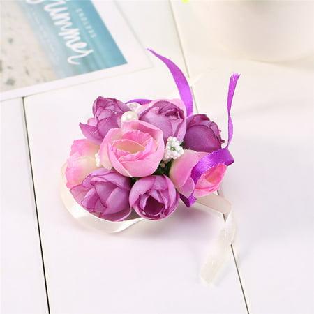 Pack Of 2 S Bridesmaid Wedding Wrist Corsage Bracelet Prom Party Hand Flowers Decor Purple