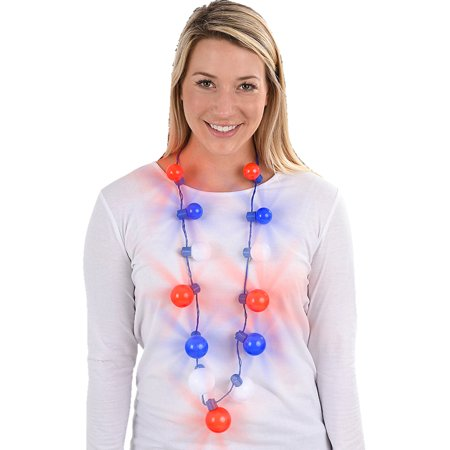 Independence Day Light Up Large Ball Necklace Costume Accessory (4th Of July Costumes For Women)