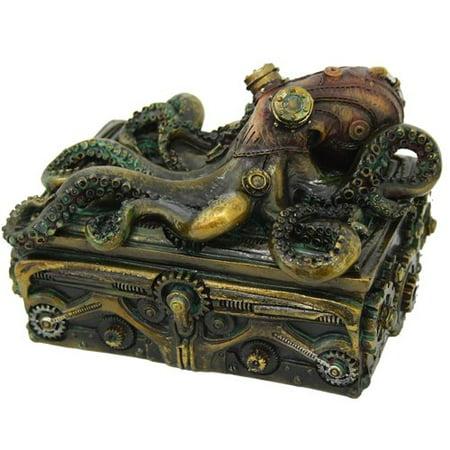 Atlantic Collectibles Steampunk Octopus On Pirate Treasure Chest Decorative Jewelry Box Figurine