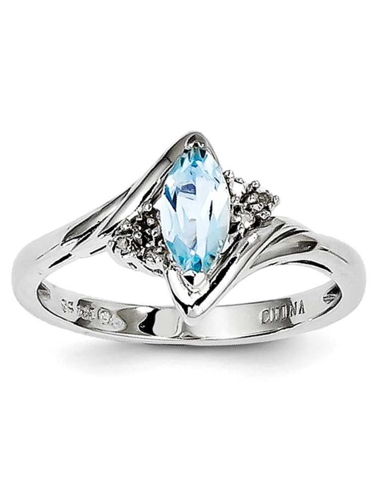 Sterling Silver Polished Open back Rhodium-plated Diamond and Light Blue Topaz Ring Ring Size: 6 to 9 by Jewelryweb