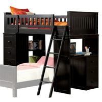 Rosebery Kids Twin Loft Bed with Desk in Black