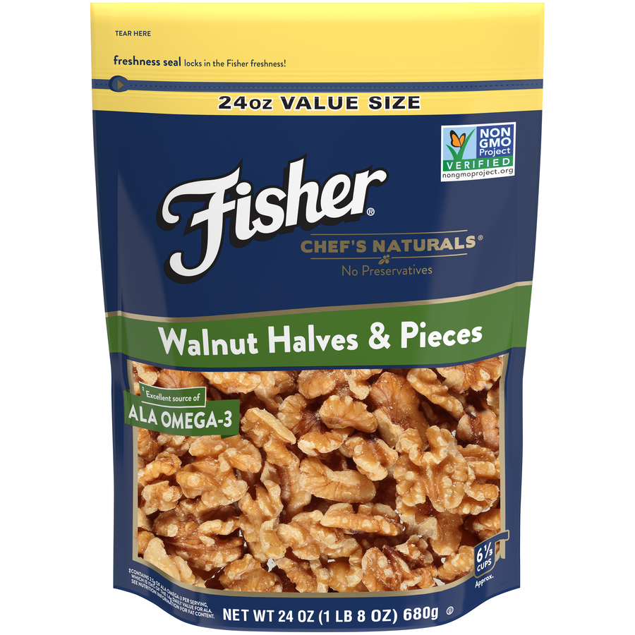 Fisher Chef's Naturals Walnut Halves & Pieces, 24 oz