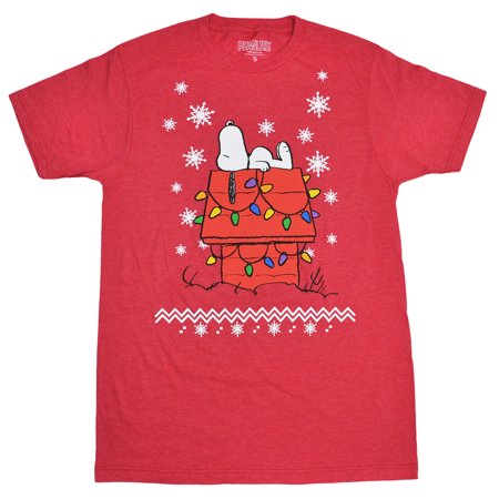 peanuts peanuts snoopy christmas lights snowflakes mens t shirt red walmartcom - Snoopy Christmas Shirt