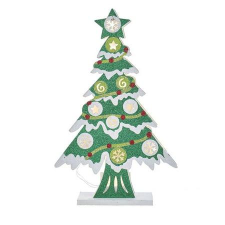 Kurt Adler 17-Inch Battery-Operated 10-Light LED Wooden Cutout Christmas Tree](Tree Cutouts)