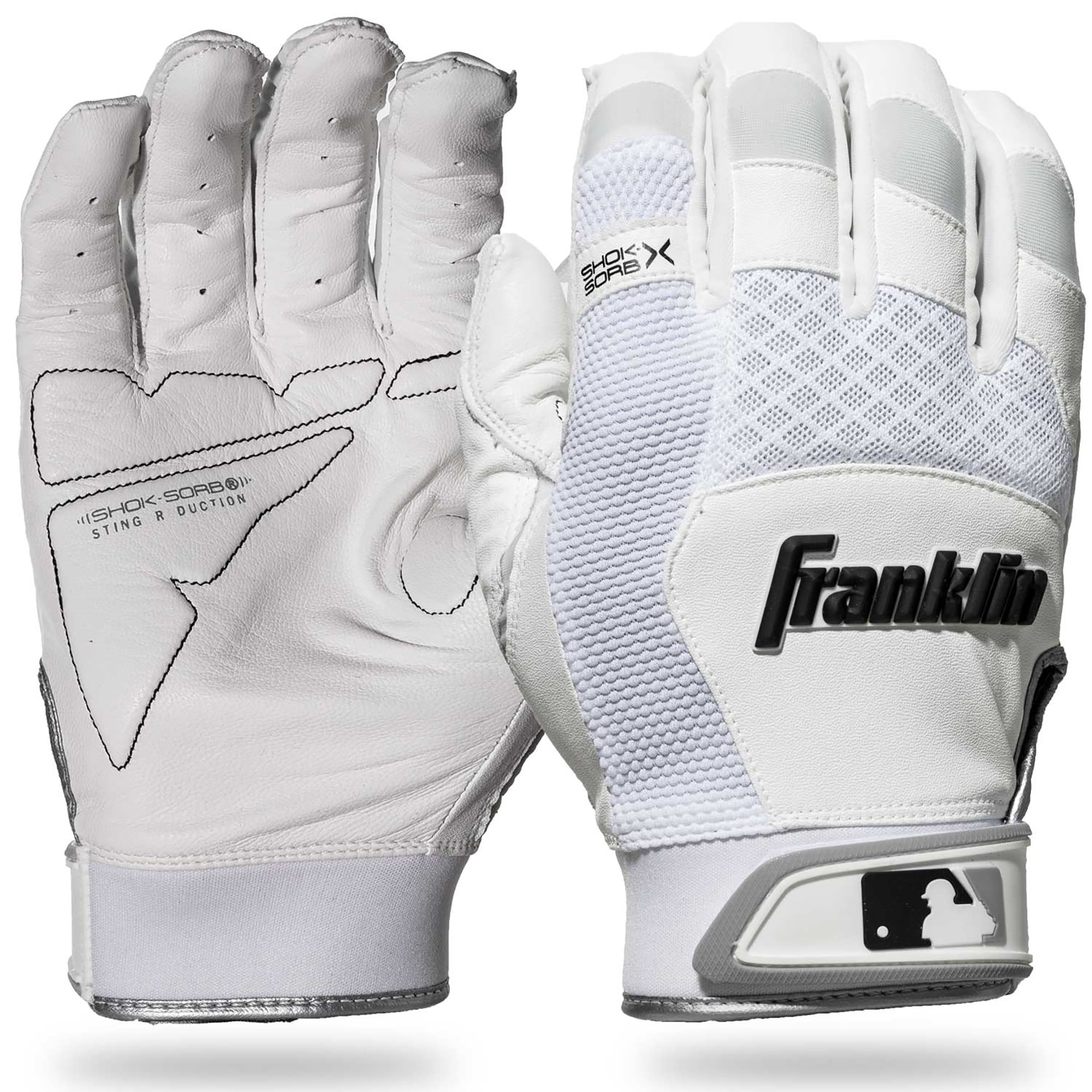 Franklin Sports Mlb Adult Shok-Sorb Neo Batting Gloves White//Black X-Large Soft