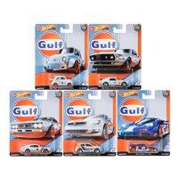 Hot Wheels 2019 Car Culture Gulf Racing Set of 5 Cars, Fiat, Ford, Nissna, Mclaren, VW 1/64 Diecast Cars