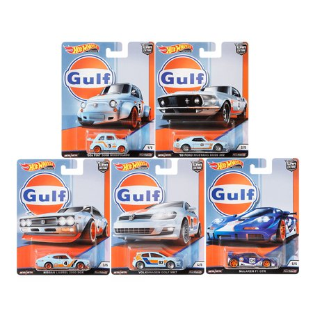 Hot Wheels 2019 Car Culture Gulf Racing Set of 5 Cars, Fiat, Ford, Nissna, Mclaren, VW 1/64 Diecast -