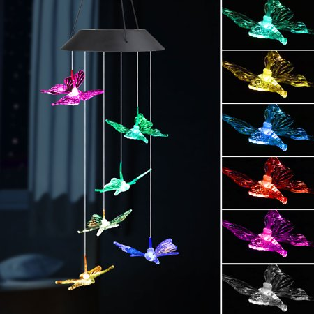 EEEkit LED Solar Butterfly Wind Chimes Outdoor - Waterproof Solar Powered LED Changing Light Color 6 Butterflies Mobile Romantic Wind-bell For Home, Party, Festival Decor, Night Garden (Butterfly Path Light)