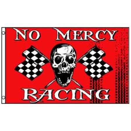 No Mercy Racing Pirate Flag Skull with Checkered Flags 3 x 5 Foot Race Banner, Home and Holiday Flags By Home and Holiday Flags