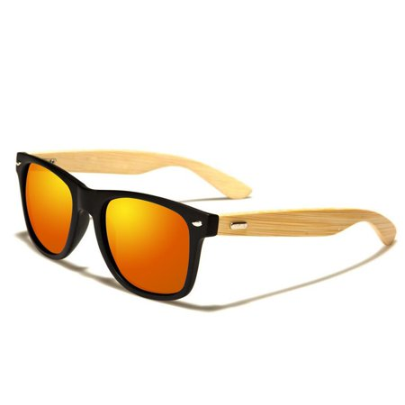 Deago New Cool Bamboo Sunglasses Wooden Wood Unisex Mens Womens Retro Vintage Summer Glasses (Sunglasses Wood Custom Logo)