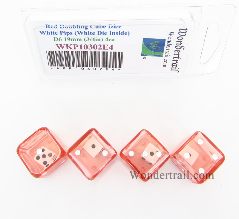Red Doubling Cube Dice with White Pips D8 19mm (3/4in) (White Die Inside) Pack of 4 Wondertrail